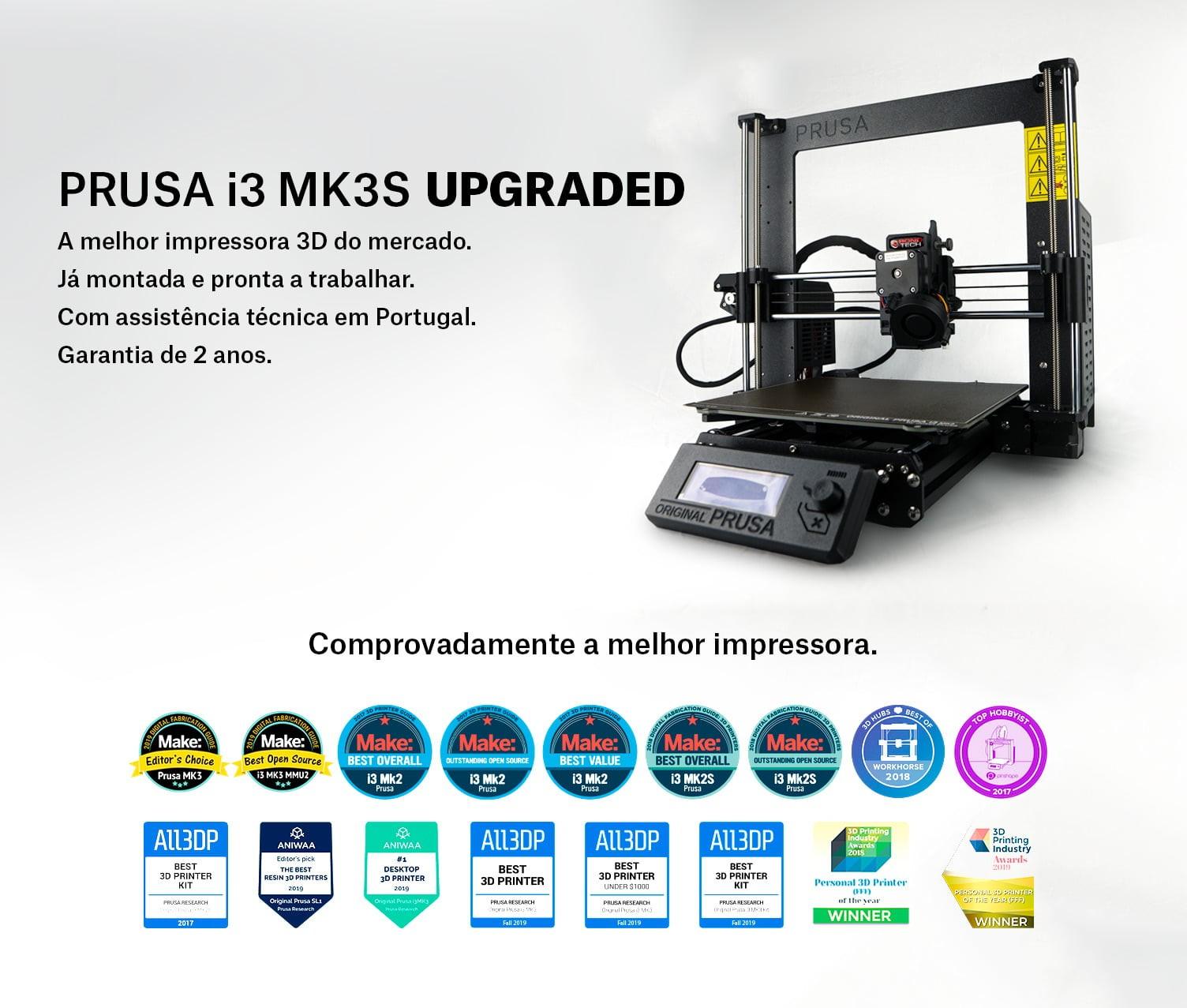 """Impressora 3D modelo """"Prusa i3 MK3S"""" com Upgrades em Portugal"""